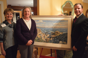 Artist Meg Black with Care Dimensions Diane Stringer and auctioneer Paul Zekos Memories of Marblehead