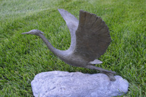 Beverly Seamans sculpture Egret in Flight donated by John Seamans for Care Dimensions 2016 Hospice Auction and Regatta