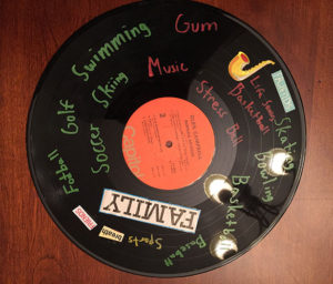 vinyl record album of memories made at grief support camp of Care Dimensions