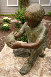 Beverly Seamans sculpture Boy with Turtle at Kaplan Family Hospice House in Danvers, MA