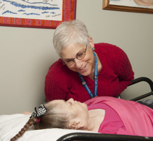 Care Dimensions social worker Susan Haas and hospice patient