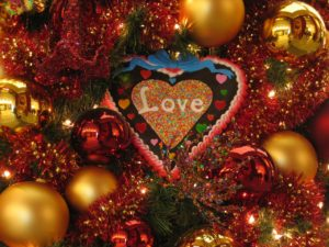 love ornament on Christmas tree