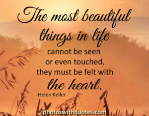 The most beautiful things in life cannot be seen or event touched they must be felt with the heart
