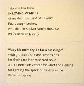 Barrie Levine book donation to Care Dimensions Kaplan Family Hospice House in memory of husband Paul Joseph Levine