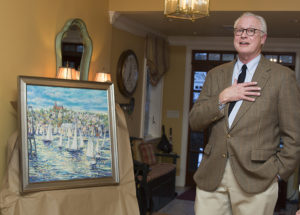 Marblehead artist Charlie Allen with painting to benefit Care Dimensions Hospice Auction and Regatta