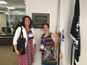 Care Dimensions Patty Ramsden and hospice advocate Judi Pasino outside of Senator Elizabeth Warren's office