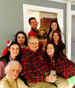 Care Dimensions hospice patient Bill McPherson of Beverly with wife Janice and grandchildren at Christmas 2015