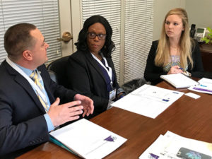 Care Dimensions Clinical Directors Matthew Smith and Florence Exantus advocate for hospice in a meeting with Nikki Hurt assistant to U.S. Senator Edward Markey of Massachusetts