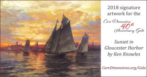 2018 signature artwork for Care Dimensions 40th Anniversary Gala is Sunset in Gloucester Harbor by Ken Knowles