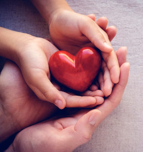 adult and child hands holding red heart health care love and family